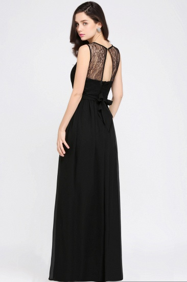 Sexy Black Chiffon Lace Long Cheap Bridesmaid Dresses In Stock_10