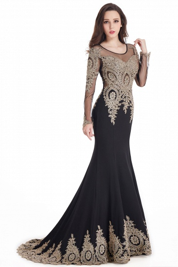 Gorgeous Long Sleeve Mermaid Evening Party Gowns With Lace Appliques_11