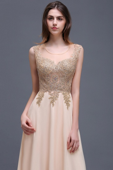 BMbridal Elegant Sheer Lace Applique Chiffon Floor Length Long Evening Dress_6