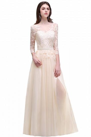 BMbridal Lace Appliques Split Long Tulle Prom Dress_5