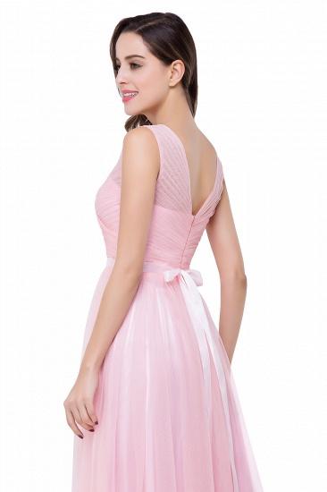 BMbridal A-line Ruffled Tulle Sleeveless Ribbon Sash V-neck Bridesmaid Dress_10