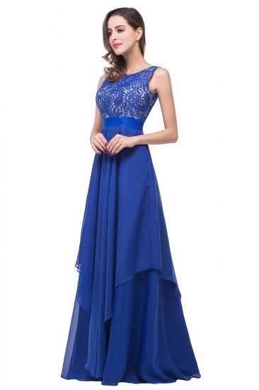 Exquisite A-line Chiffon Royal Blue Bridesmaid Dress with Lace In Stock_7