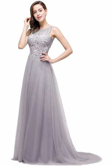 BMbridal A-line Court Train Tulle Evening Dress with Appliques_8