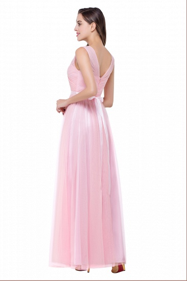 BMbridal A-line Ruffled Tulle Sleeveless Ribbon Sash V-neck Bridesmaid Dress_8