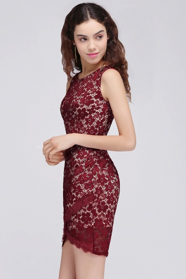 BMbridal Bodycon Round Neck Short Lace Burgundy Homecoming Dress_9