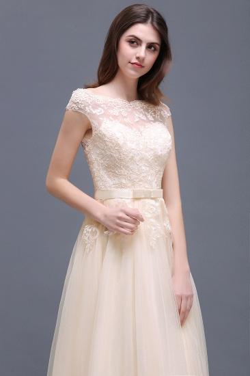 BMbridal Cap Sleeve Lace Appliques Long Evening Dress_10