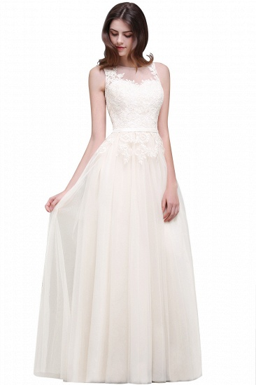 BMbridal Lace Sleeveless Long Tulle Prom Dress_1