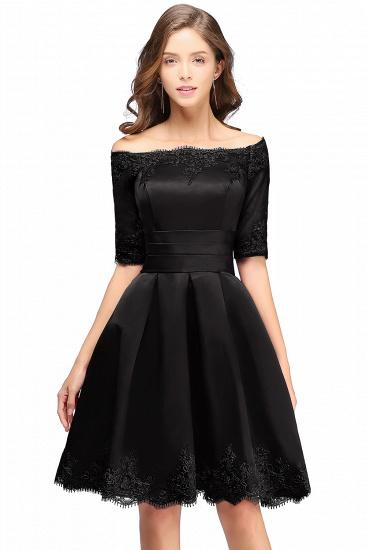BMbridal Chic Half Sleeve Lace-up Off-shoulder Lace Appliques Short Prom Dress_5