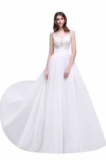 BMbridal Elegant White Sheer Lace Chiffon Beach Wedding Dress_1