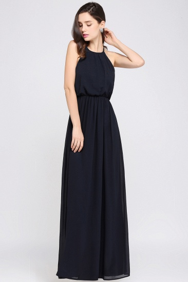 Simple A-line Halter Navy Chiffon Long Bridesmaid Dresses In Stock_11