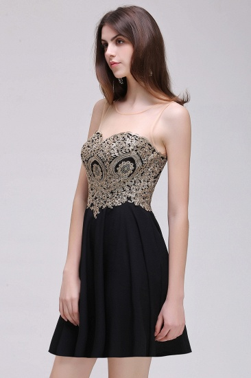 BMbridal Black Short A-line Homecoming Dress_6