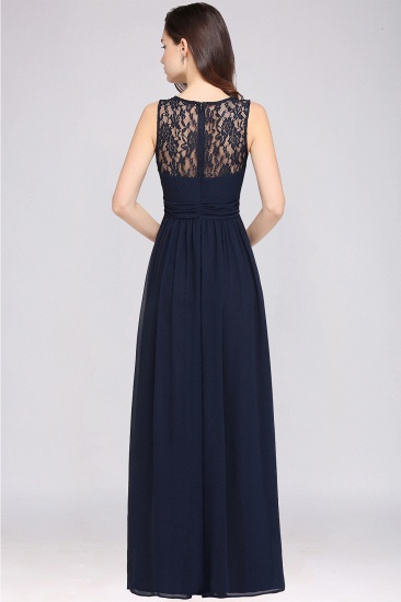 Elegant Lace Chiffon Affordable Long Navy Bridesmaid Dresses In Stock_9