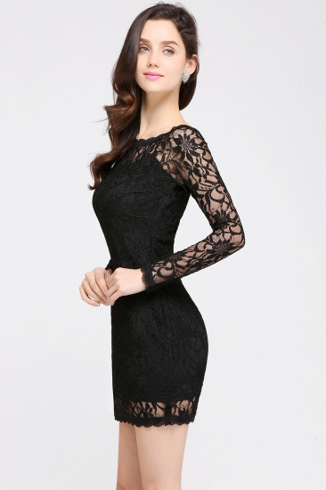 BMbridal Sexy Black Lace Long Sleeves Mermaid Prom Dress_11