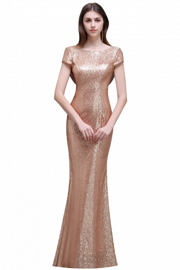 BMbridal Women Sparkly Rose Gold Long Sequins Bridesmaid Dress