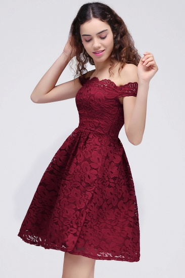 BMbridal A-Line Off-the-shoulder Short Burgundy Lace Homecoming Dress_5