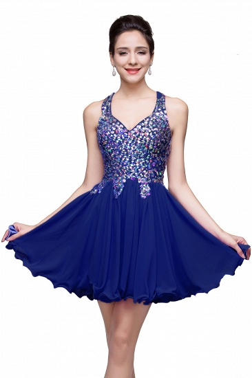 BMbridal Chic Crisscross-straps Crystal Beads Ruffle Chiffon Sweetheart Short Prom Dress_4