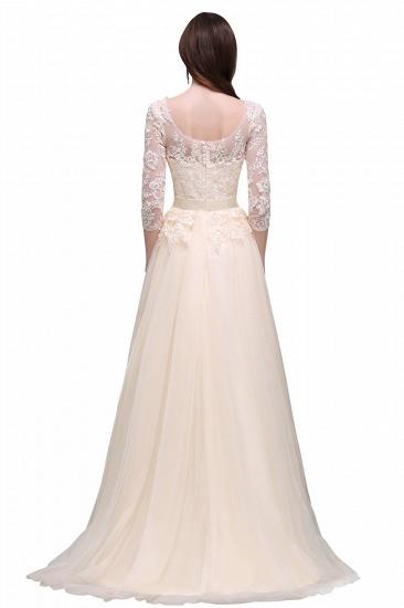 BMbridal Lace Appliques Split Long Tulle Prom Dress_6