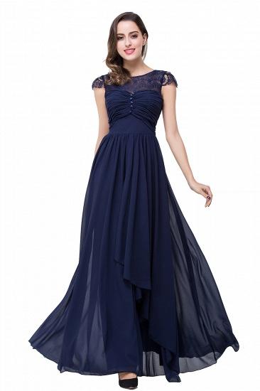 BMbridal A-line Ruffles Ribbon Bow Capped Lace Chiffon Bridesmaid Dress_16