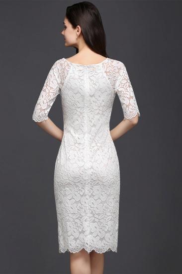 BMbridal Lace Jewel Short Ivory Fashion Knee-length Sleeve Evening Dress_2