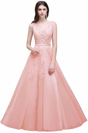 BMbridal V-Neck Sleeveless Lace Appliques Bridesmaid Dress_3