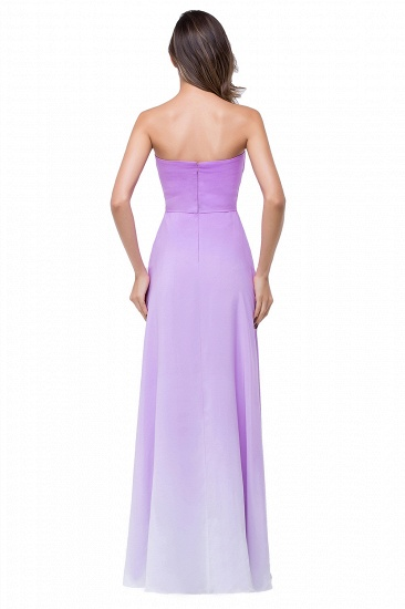 Gorgeous A-line Strapless Lilac Chiffon Bridesmaid Dress Cheap In Stock_3