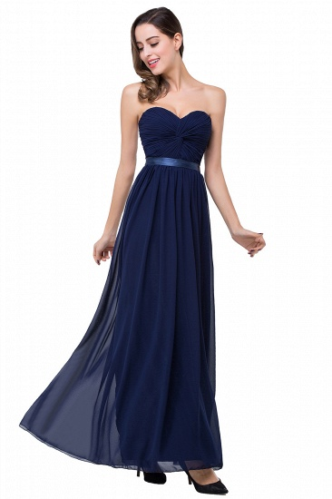 BMbridal Affordable Chiffon Strapless Navy Bridesmaid Dress with Ruffle In Stock_11