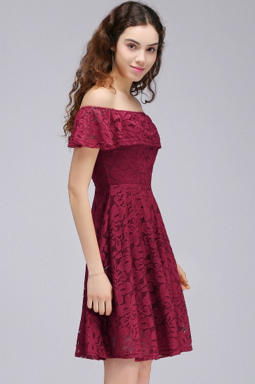 BMbridal A-Line Off-the-shoulder Lace Burgundy Homecoming Dress_4