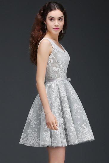 BMbridal Designer V Neck A Line Sheer Lace Short Homecoming Dress_3