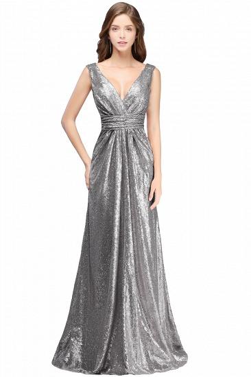 BMbridal Elegant A-line Open Back Sequins Sleeveless V-neck Evening Dress_2