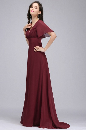 Affordable Chiffon Burgundy Long Bridesmaid Dresses with Soft Pleats In Stock_10