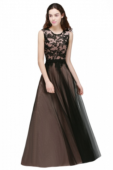 BMbridal Pretty Sleeveless Black Lace Tulle Floor Length Formal Evening Dress with Sash_1