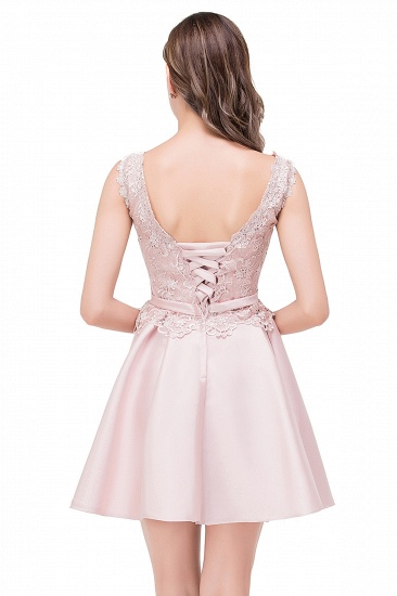 BMbridal A-line Knee-length Satin Homecoming Dress with Lace_6