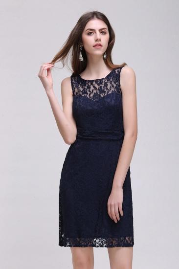 BMbridal Gorgeous Navy Blue Lace Short Prom Dress_2