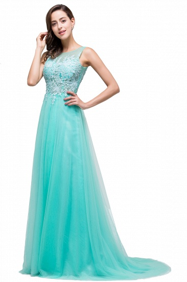 BMbridal A-line Court Train Tulle Evening Dress with Appliques_11
