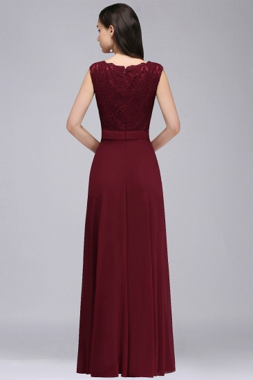 BMbridal Elegant Lace A-line Long Burgundy Prom Dress_8