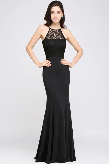 BMbridal Sexy Mermaid Chiffon Halter Long Black Bridesmaid Dresses In stock_2