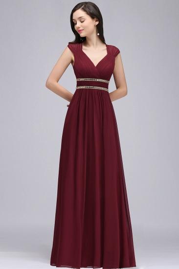BMbridal Vintage Burgundy Cap Sleeve Chiffon Long Evening Dress_10