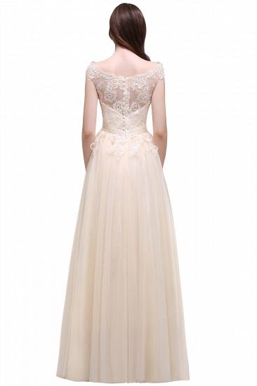 BMbridal Cap Sleeve Lace Appliques Long Evening Dress_9