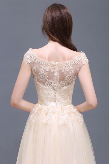 BMbridal Cap Sleeve Lace Appliques Long Evening Dress_12