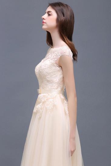 BMbridal Cap Sleeve Lace Appliques Long Evening Dress_11
