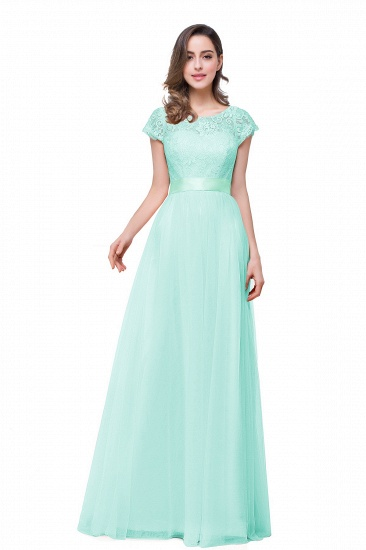 BMbridal Short Sleeve Long Lace Bridesmaid Dresses_5