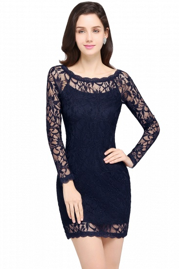 BMbridal Sexy Black Lace Long Sleeves Mermaid Prom Dress_6
