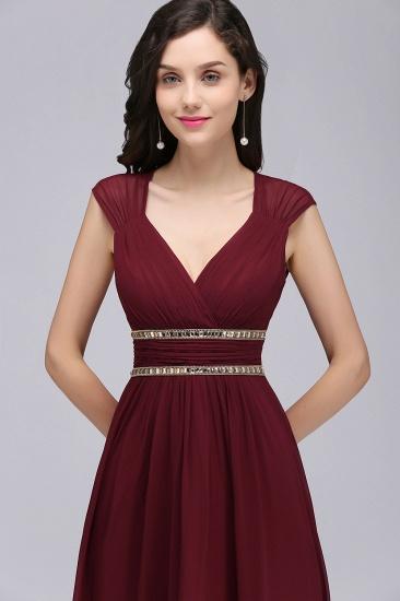 BMbridal Vintage Burgundy Cap Sleeve Chiffon Long Evening Dress_13