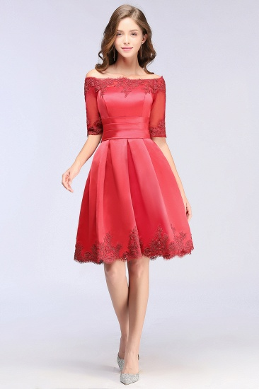 BMbridal Chic Half Sleeve Lace-up Off-shoulder Lace Appliques Short Prom Dress_6