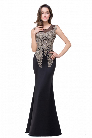 BMbridal Black Mermaid Long Prom Dress With Lace Appliques_9