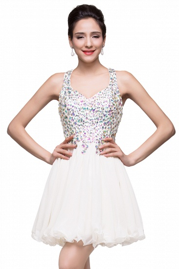 BMbridal Chic Crisscross-straps Crystal Beads Ruffle Chiffon Sweetheart Short Prom Dress_1