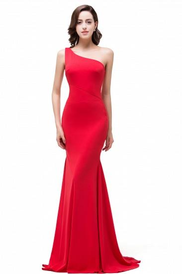 BMbridal Red One-Shoulder Floor Length Mermaid Prom Dress_4