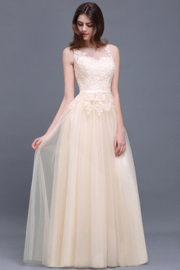 BMbridal Lace Sleeveless Long Tulle Prom Dress_4