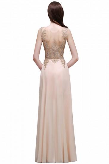 BMbridal Elegant Sheer Lace Applique Chiffon Floor Length Long Evening Dress_8