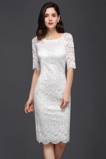 BMbridal Lace Jewel Short Ivory Fashion Knee-length Sleeve Evening Dress_1
